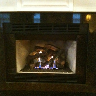Gas log fireplace insert.