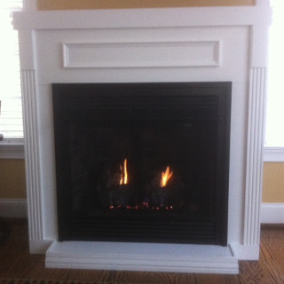 Propane gas fireplace stove.