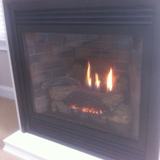 Gas stove fireplace.